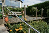 Decking Handrail/Balustrade with Stainless Steel Wire Infill