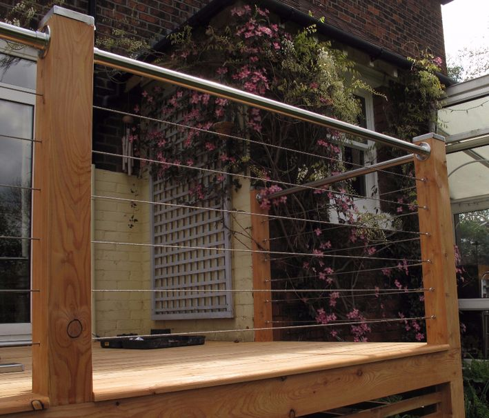 Decking and patio stainless steel wires and handrail supplied ready to fit